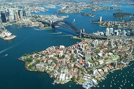 Sydney Harbour Bridge from the air.JPG