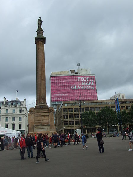 George Square Sir Walter Scott Monument during Commonwealth Games 2014.JPG